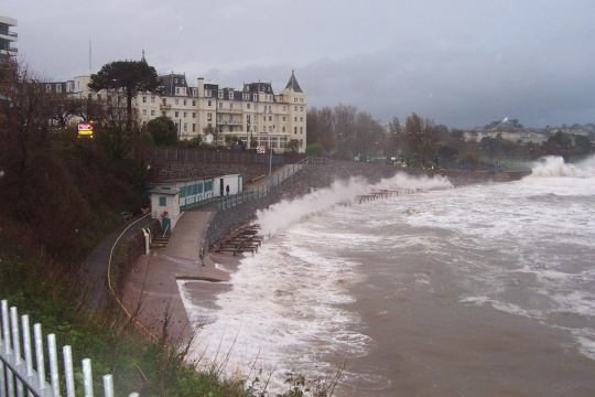 Storms batter the seafront in front of Torquay's Grand hotel