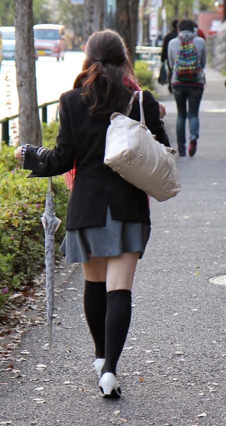 Long socks are a wardrobe essential for the Japanese office lady about town