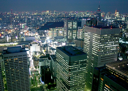 View from the Metropolitan Government Office building across central Shinjuku